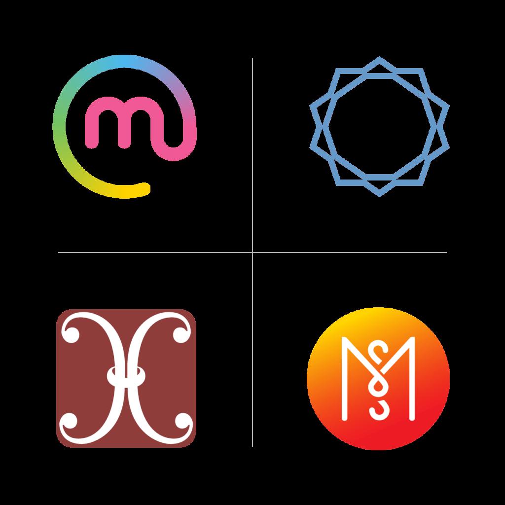 hanna-ekegren-design-yritysilme-graafista-suunnittelua-palvelut-yritysgrafiikka-nelja-logoa-nelikentassa
